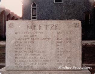 Meetze Memorial Front 1985